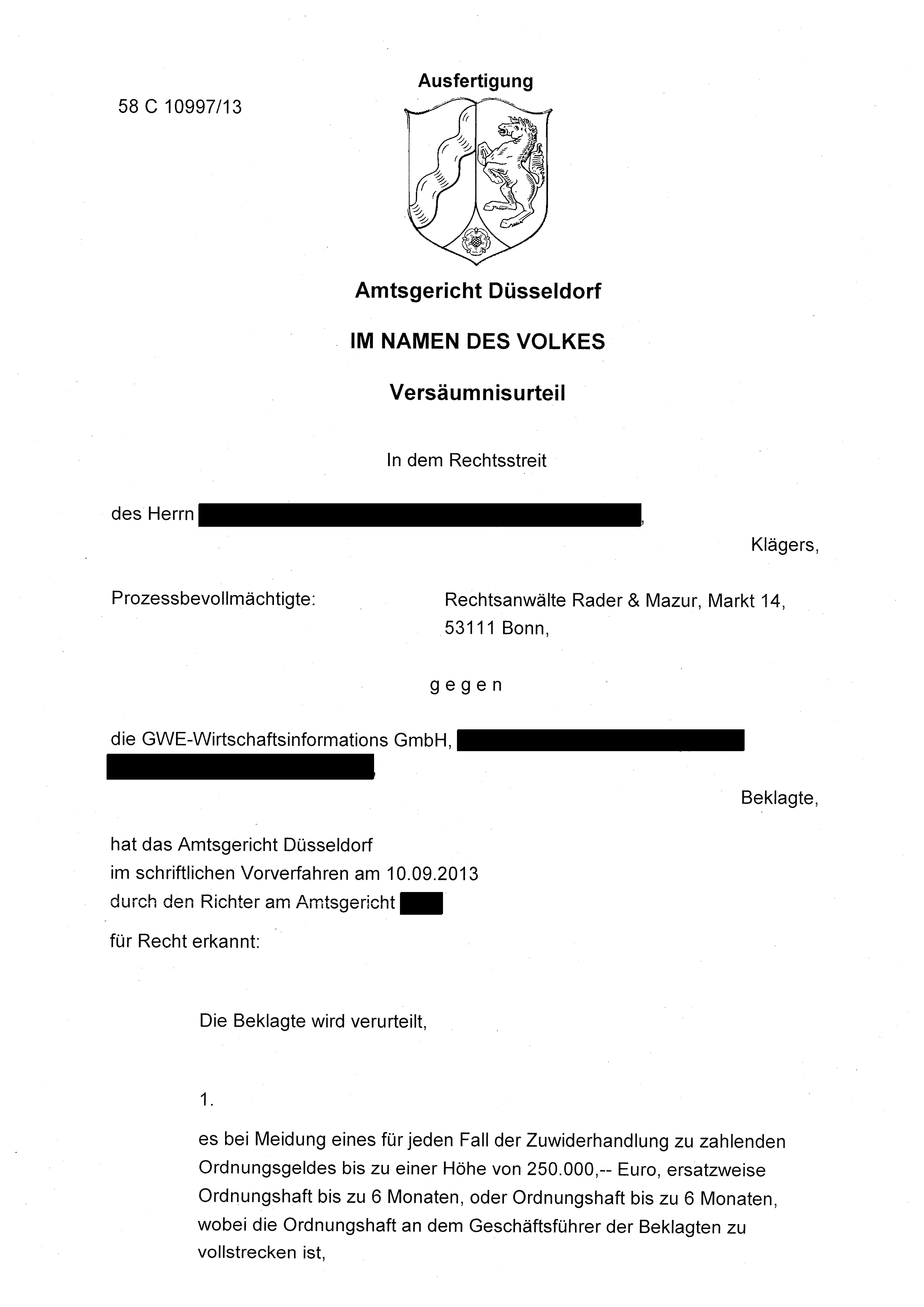 Gwe Unerwunschte Werbung Ag Dusseldorf 58 C 10997 13 Rechtsanwalt Thomas Rader