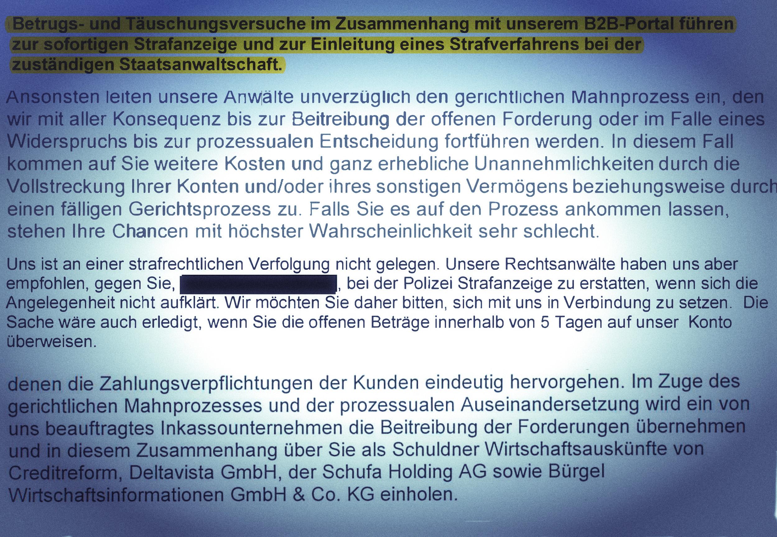 Mahnschreiben Rechtsanwalt Thomas Rader
