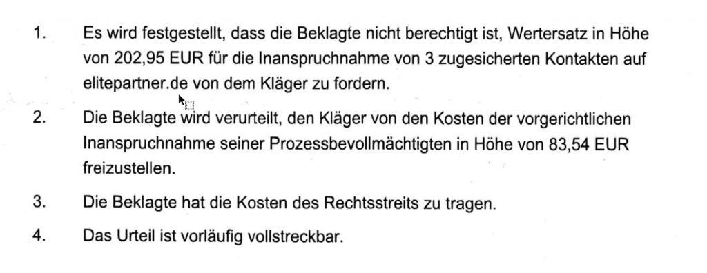 AG Hamburg: Elitepartner - Kein Wertersatz in Höhe von 203,- € für 3 Kontakte