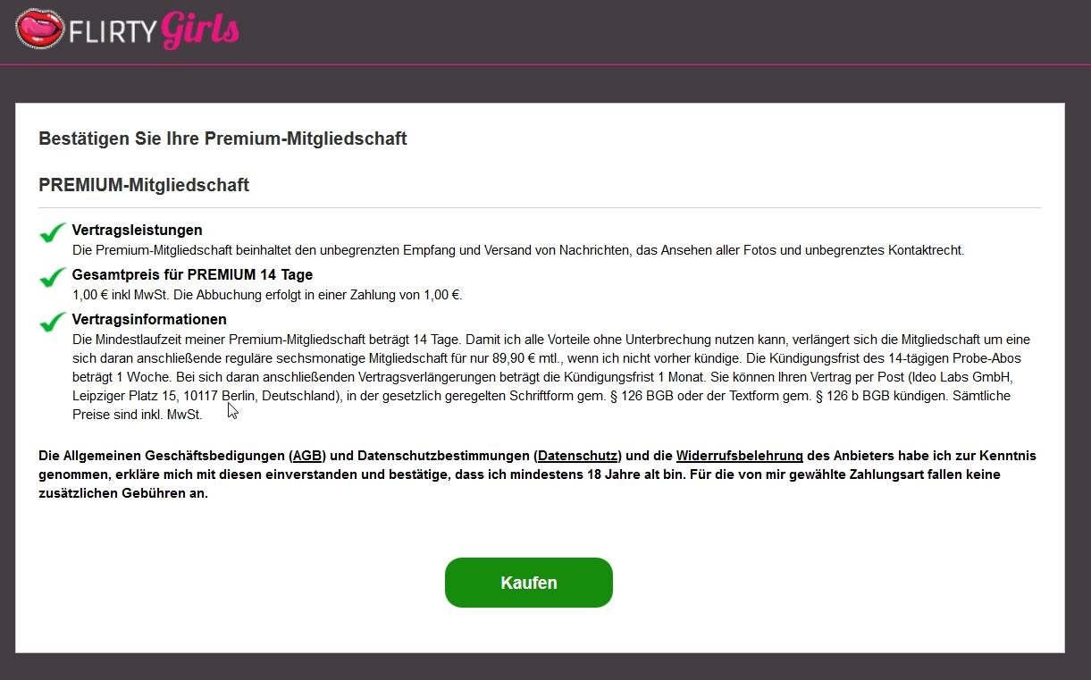 Kein Erlöschen des Widerrufsrechts auf Flirt- und Datingportalen der Ideo Labs - Zum Vorliegen eines Vetrages über die Lieferung digitaler Inhalte bei Flirt- und Datingportalen