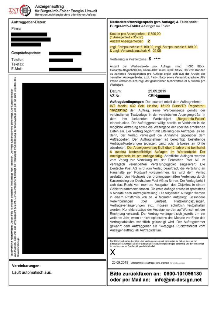 """Arkadia Verlag GmbH verzichtet auf 8.500,- € für Anzeigenvertrag (INT Media - """"Bürger-Info-Folder"""")"""