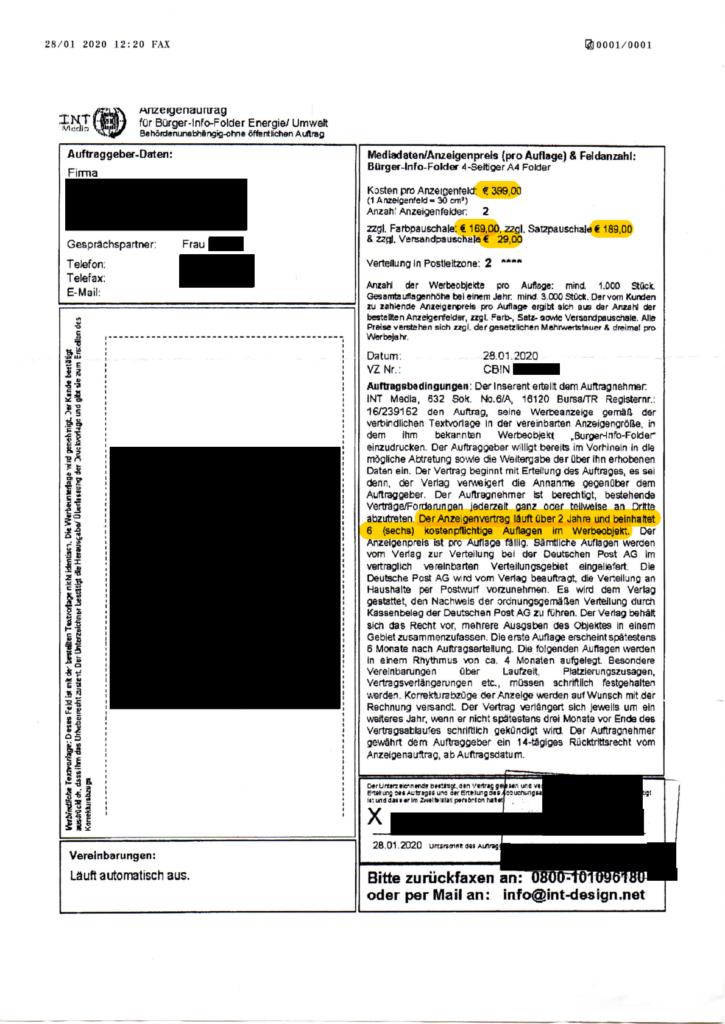 Bürger-Info-Folder der INT Media: Arkadia Verlag GmbH verzichtet auf 8.500,- € aus Anzeigenvertrag (Fax-Masche)