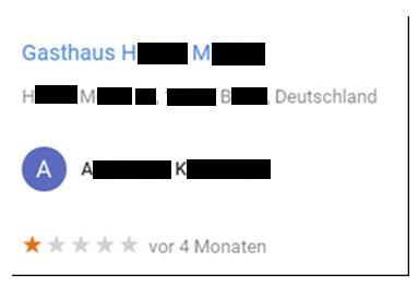 LG Hamburg: 1-Stern-Bewertung bei Google